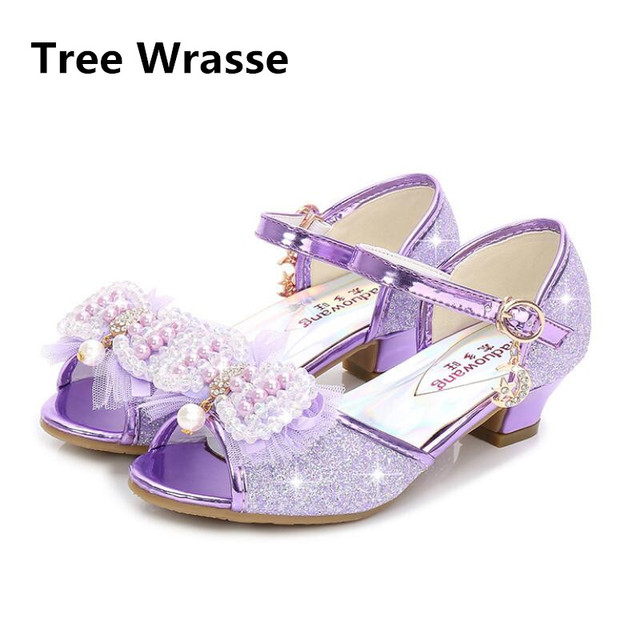 Kids Pearl Princess Rhinestone Shoes Girls High Heel Sandals Fashion Bowtie  Children Students Baby Fish Head Shoes 2018 New