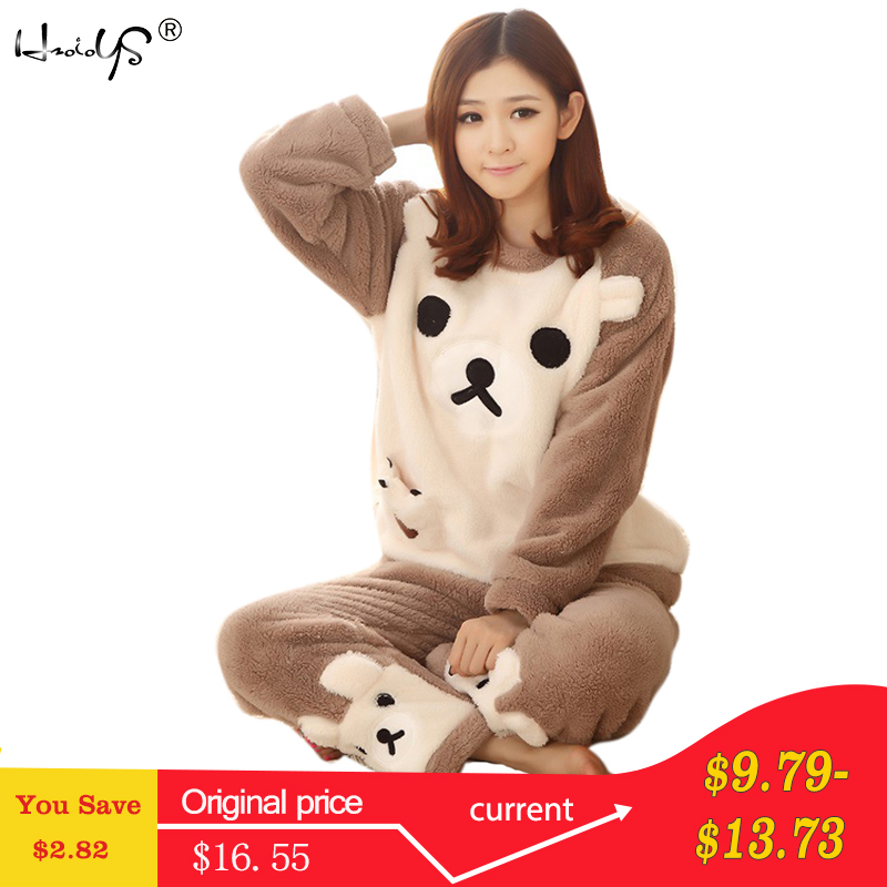 Women   Pajama     Sets   2018 Autumn winter Flannel Cartoon Warm Pyjamas Women Homewear Animal Sleepwear Cat female   pajama
