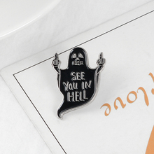 Death in hell Enamel Pin Badge Black Ghost Brooches F* You Grim reaper Pins Hat