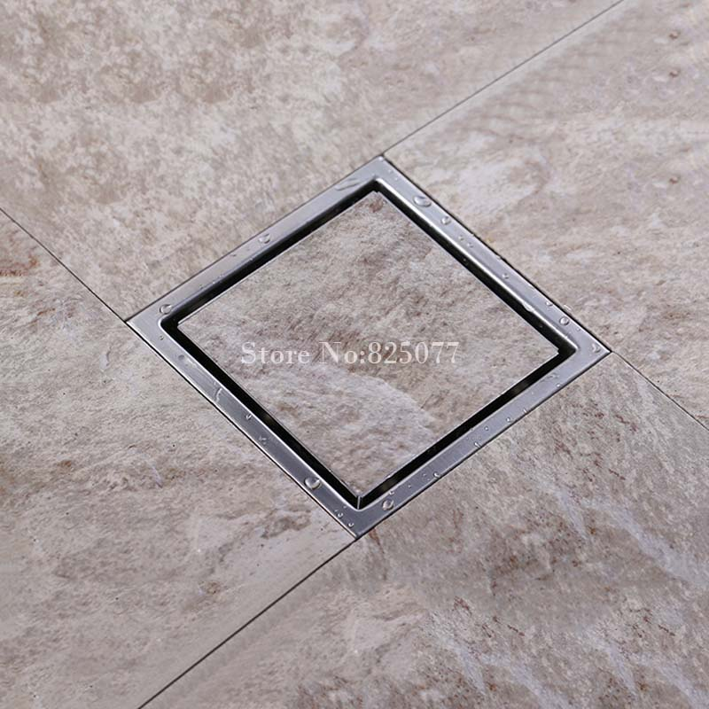 ФОТО 1PCS High Quality Square Brushed 304 Stainless Steel Floor Drain Shower Waste Grate 110mmx110mm ED13