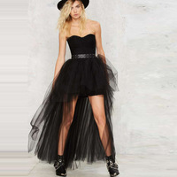 Short Fluffy Skirt Black Gauze Dress Sexy Before Long And