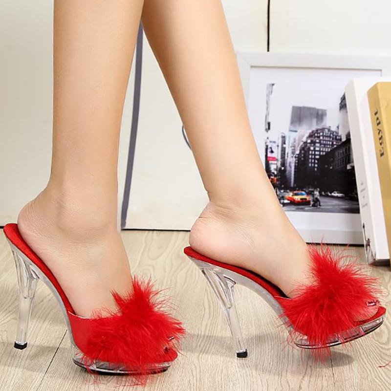 Women Fur Slippers Slides Women Summer Shoes Mules Transparent Clear High Heels Fashion Platform Slippers Crystal Shoes Big Size цены онлайн