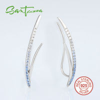 Silver Climber Ear Cuff Earrings For Women Blue White CZ Diamond Earrings Pure 925 Sterling Silver