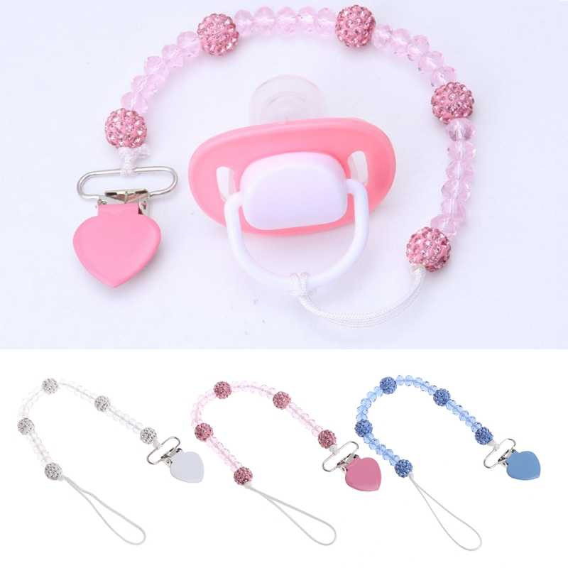 Bling คริสตัลมือ Pacifier คลิปห่วงโซ่ Dummy Soother Nipple Leash Strap