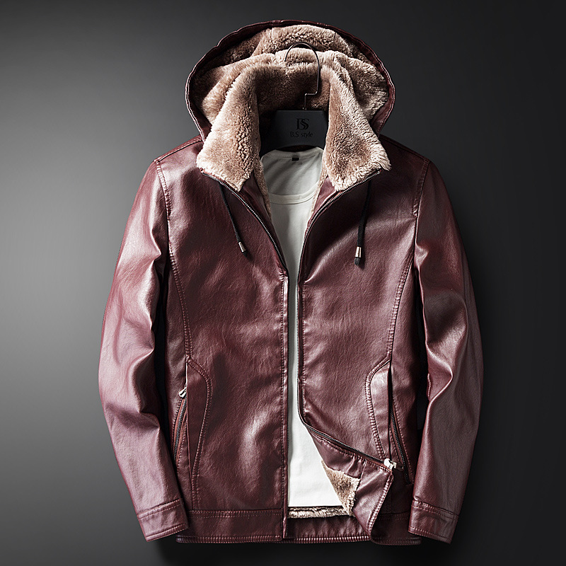 New Male PU Leather Jacket Fleece Lining Punk Stand Collar Jacket Men Hooded Zipper Male Coats Slim Fit Motorcycle Outwear - 4
