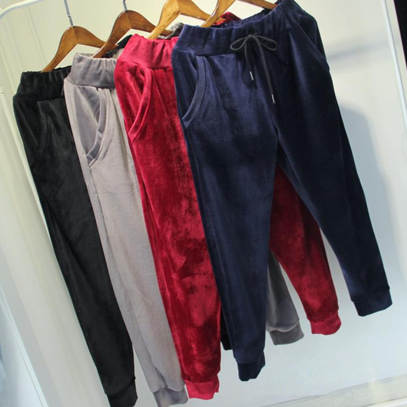 High Quality Winter Womens Black/Red/Navy Blue/Gray Pants Women Casual Cotton Sweatpants Lady Velvet Warm Comfortable Soft Pants