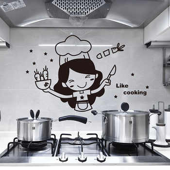 Bedroom Kitchen Wall Stickers Cute Cook Vinyl Wall Decal Home Decor Window Light Switch Panel Stickers Waterproof Drop Shipping