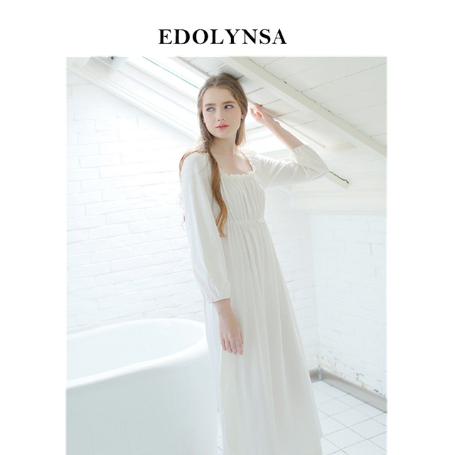 aee33746fe Sweet Sleepwear Cotton White Long Nightgown Womens Dresses Princess Vintage  Indoor Clothing Comfortable Sleeping Dress  L21