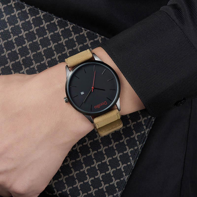 Casual Business Men Watch Simple Style Clock Red Pointer PU Leather Wristband Quartz Analog Round Dial Wristwatch LL@17