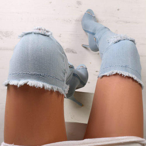 Hot selling denim thigh high peep toe boots 2017 sexy cutouts over the knee boots woman high heel thigh high boots