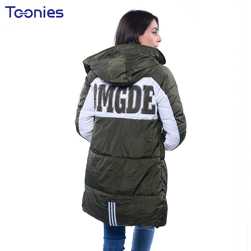 Plus Size 3xl Women Winter Parkas Coat Padded Jacket Hooded Thick Overcoat Warm Letter Medium Long Female Tops Jackets Outwear 2017 winter women coat warm down cotton padded jacket thick hooded outwear plus size parkas female loose medium long coats