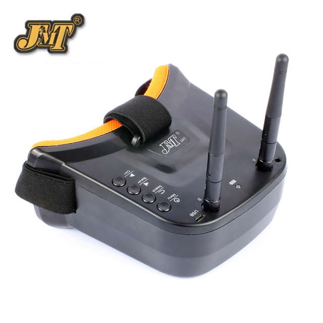 JMT Mini FPV Goggles 3 Inch Double Antenna 5.8G 40CH Built-in 3.7V 1200mAh Battery for Racer Quadcopter Dron Model