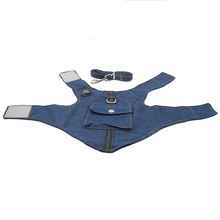 Denim Dog Vest Harness Leash Set Stars for Small Medium Dogs Jeans Clothes Coat Apparel Wear Teddy Terrier Puppy Pet Supplies