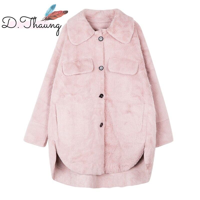 Women Fur Coat 2019 New Winter Imitation Water Velvet Female Fur Coat Single-Breasted Loose Thick Ladies Fake Fur Coat Cw597