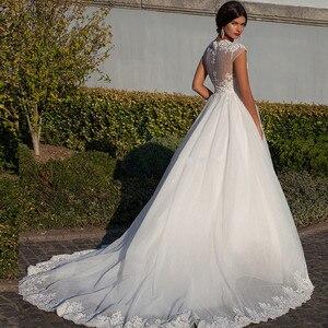 Image 3 - Vestidos de novia Ballkleid Weiß Schatz Appliques Cap Sleeve Braut Kleider 2019 Billige Kunden Spitze Backless Hochzeit Kleider