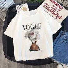 ea0eb5f692a3a Летняя женская модная футболка VOGUE beauty элегантная осанка Harajuku  короткий рукав с круглым вырезом женские футболки
