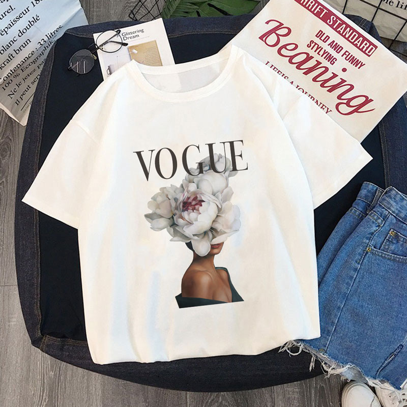Summer Women Fashion T Shirt VOGUE Beauty Elegant Posture Harajuku Short Sleeve O-Neck Tops Tees Female Casual Ladies T-Shirt