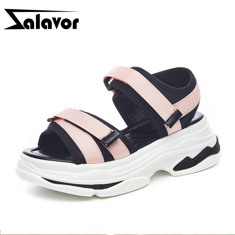 ZALAVOR Women Wedges Sandals Thick Bottom Mixed Color Knitting Sneakers Sandals Casual Beach Party New Shoes