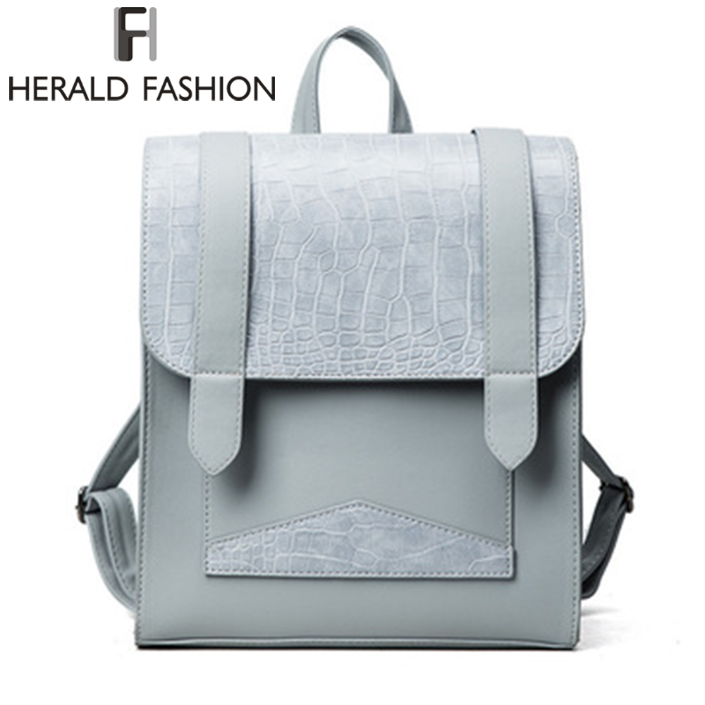 Herald Fashion Women Alligator Leather Backpack High Quality School Bags For Teenagers Girls Top-handle Travel Backpacks mochila women leather backpack school bags for teenagers laptop backpacks top handle backpacks new fashion student bags mochila escolar