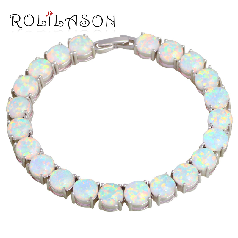 ROLILASON Brand Design Anniversary White Fire Opal Silver Stamped Charm Bracelets For Women Precious Fashion Jewelry OB064