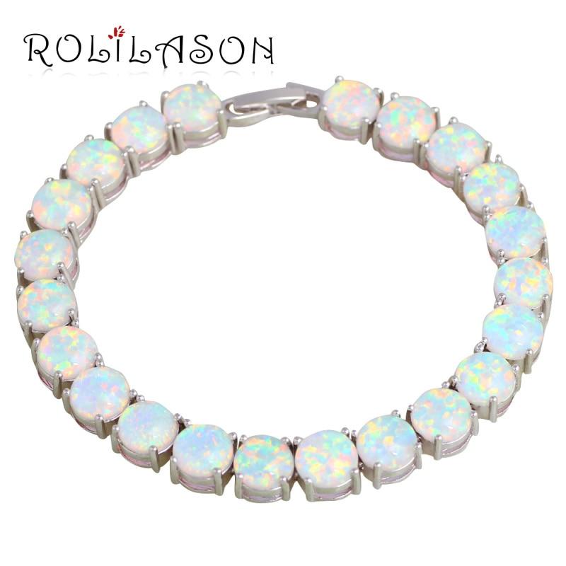 ROLILASON Merek Desain Anniversary Putih Fire Opal Perak Stamped Charm Gelang untuk Wanita Fashion Perhiasan Berharga OB064
