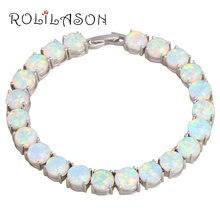 7c608b9aac94 Rolilason Marca Diseño aniversario blanco fuego ópalo plata estampada  Pulseras con encanto para las mujeres preciosa joyería ob0.
