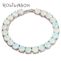 ROLILASON Brand Design Anniversary White Fire Opal Silver Stamped Charm Bracelets For Women Precious Fashion Jewelry