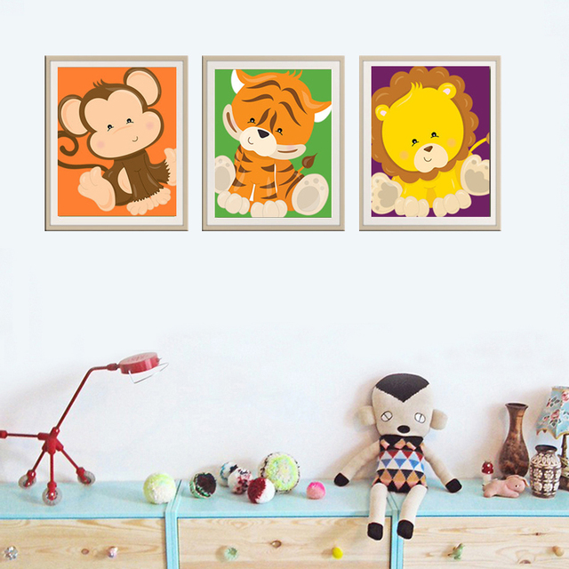 new animals nursery canvas wall pictures oil painting nursery prints posters art for kids room decoration - Prints For Kids