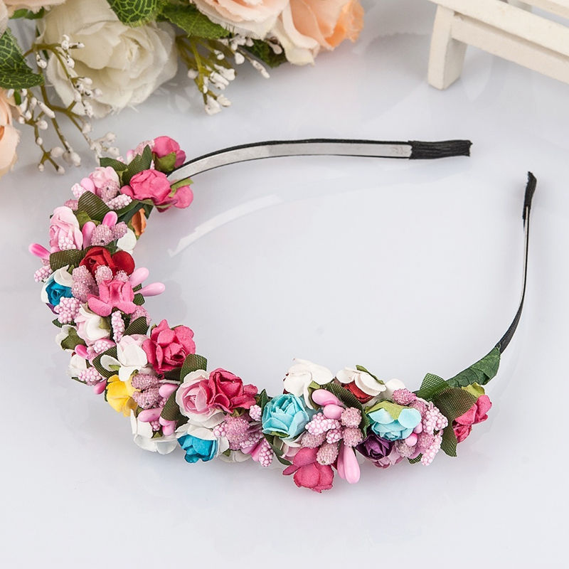 1 Pc Flower Garland Floral Bride Headband Hairband Wedding Party Prom Festival Decor Hair JHead Bands Headwear Accessories