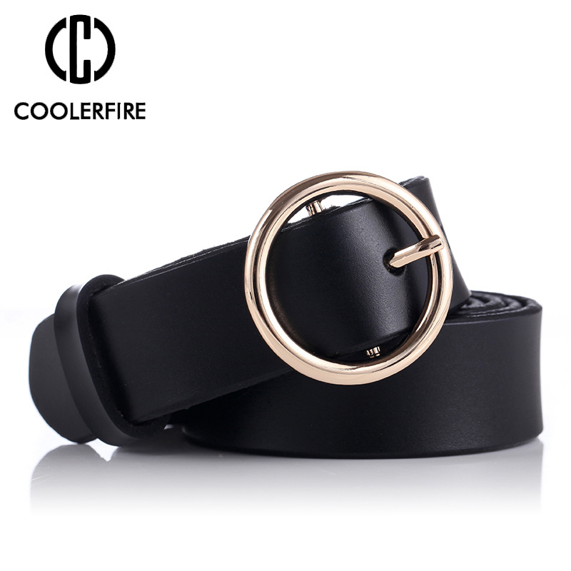 COOLERFIRE Fashion Classic Round Buckle Ladies Wide Belt Women's Design High Quality Female Casual Leather Belts For Jeans LB007