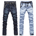 Big Sale! autumn winter men skinny jeans plus size 28 to 34, 36 pencil pants men light blue dark blue freeshipping dropship