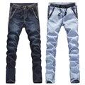 Venta grande! otoño invierno hombre jeans ajustados más el tamaño 28-34, 36 pantalones del lápiz de los hombres de color azul claro azul oscuro freeshipping dropship