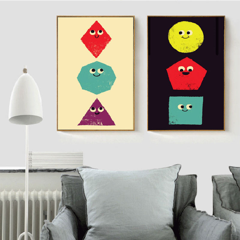 HAOCHU Funny Cartoon Expression Smiling Onions Three Primary Colors  Geometric Polygon Canvas Painting Poster For Living Room
