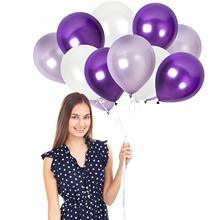 METABLE  Pack of 50 Pearl White Purple Balloons 12 Inch Lilac Lavender Violet Latex Balloon Bulk P ribbbon
