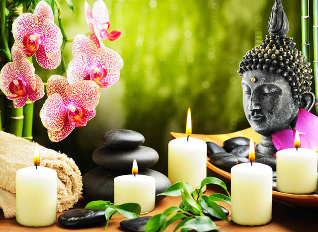 5 stks led verlichting gratis verzending muur art led canvas boeddha met kaarslicht up