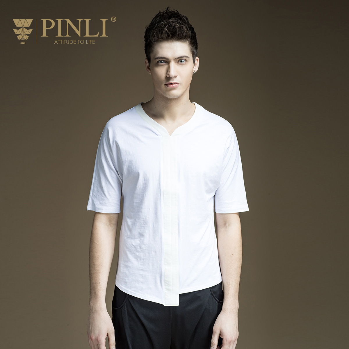 Pinli Time-limited Fashion Solid V-neck Bamboo Fiber Product Innovation 2017 New Summer Mens V Collar Shirt T-shirt B172311025