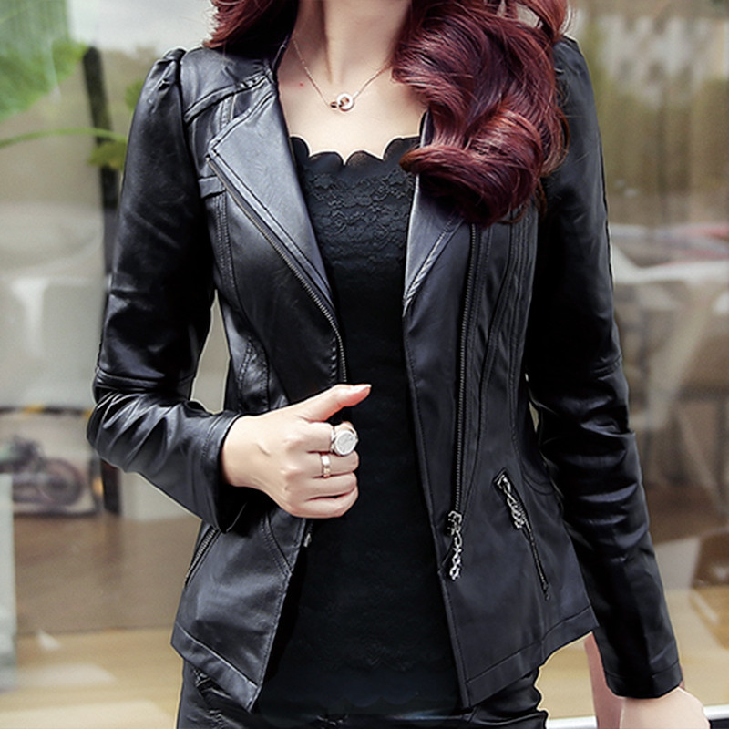 Plus Size 4XL 5XL Women Bomber Jacket Black Short PU   Leather   Jacket Camperas Mujer Slim Faux   Leather   Motorcycle Women Coat C3595