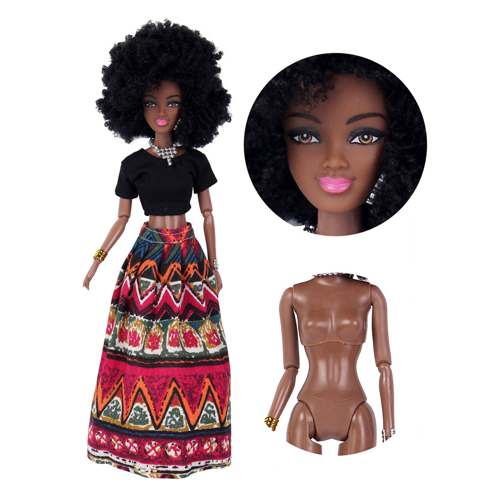 Baby Dolls For Girls Baby Movable Joint African Doll Toy Black Doll Best Gift Baby Dolls Kids Fun Toy Children Birthday Gifts 1pcs pea dolls princess on the pea baby dolls plush toys baby comfortable toy gifts for kids girls gifts accompany sleep doll