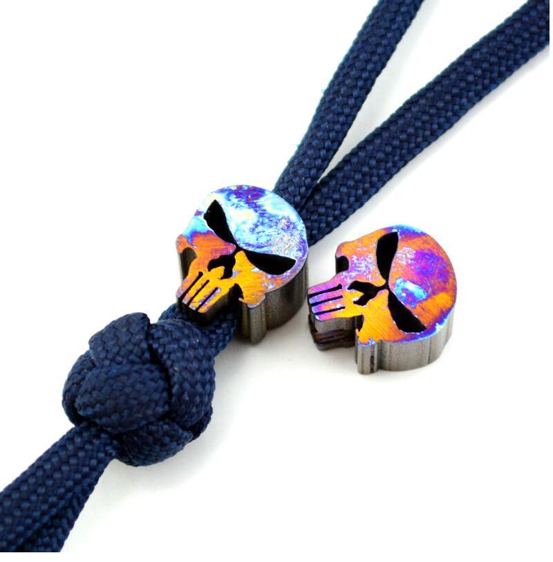 1 piece Diy Knife material Making knife Handle pendant TC4 Punisher skull keychain Pendant necklace (Grilled blue ) боксмод sigelei fuchai 213w tc blue силик чехол