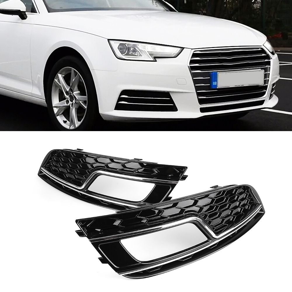 2pcs Left&Right  Black Front Car Grilles for Audi A4 B9 S Line 2013-2016 Car Fog Light Cover Grilles Replacement 2016 new a pair front grilles left and right double line grille gloss black front grills for bmw 3 series e46 2002 2004 4 door