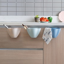 Kitchen Cabinet Door Hanging Trash Holder Storage Basket Uncovered Plastic Bucket Bedroom Mini Garbage Cans