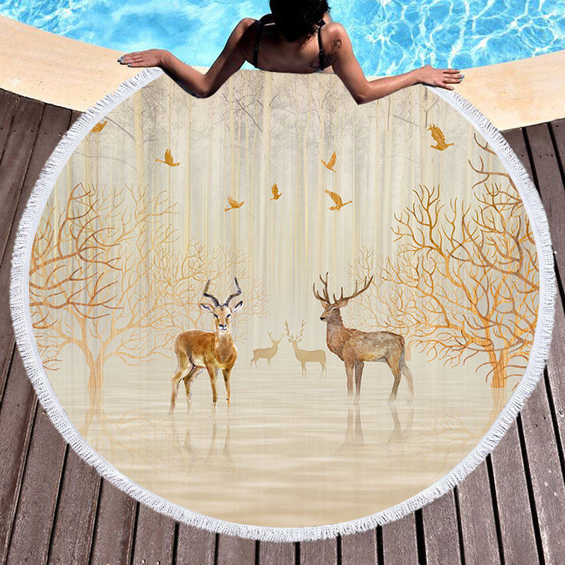 Double Elf Printed Microfiber Beach Towel Tassels Adult Kids Blanket Large Round Bath Towel Swimwear Tapestry Home  Decor title=
