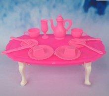 Kids Toys Play House Doll Accessories Handmade Doll's Plastic Dinning Table For Barbie Dolls For Kali dolls For Barbie Dollhouse