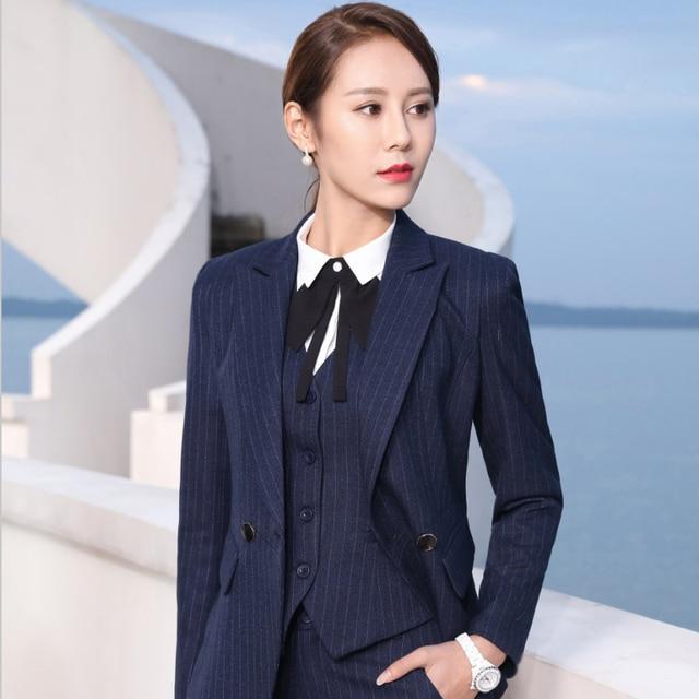 Marque blazer costume ensemble pour femme profession tempérament bureau  dame tailleur-pantalon bande à manches a29a2fdde7f3