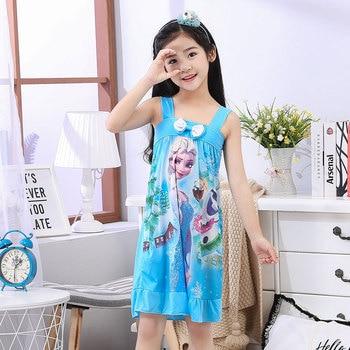 f78039b882647 Summer Girl SleepDress Cute Short Pajamas Polyester Nightgowns Cute Print  Big Girl Sleepwear Cloth Outwear Nightdress