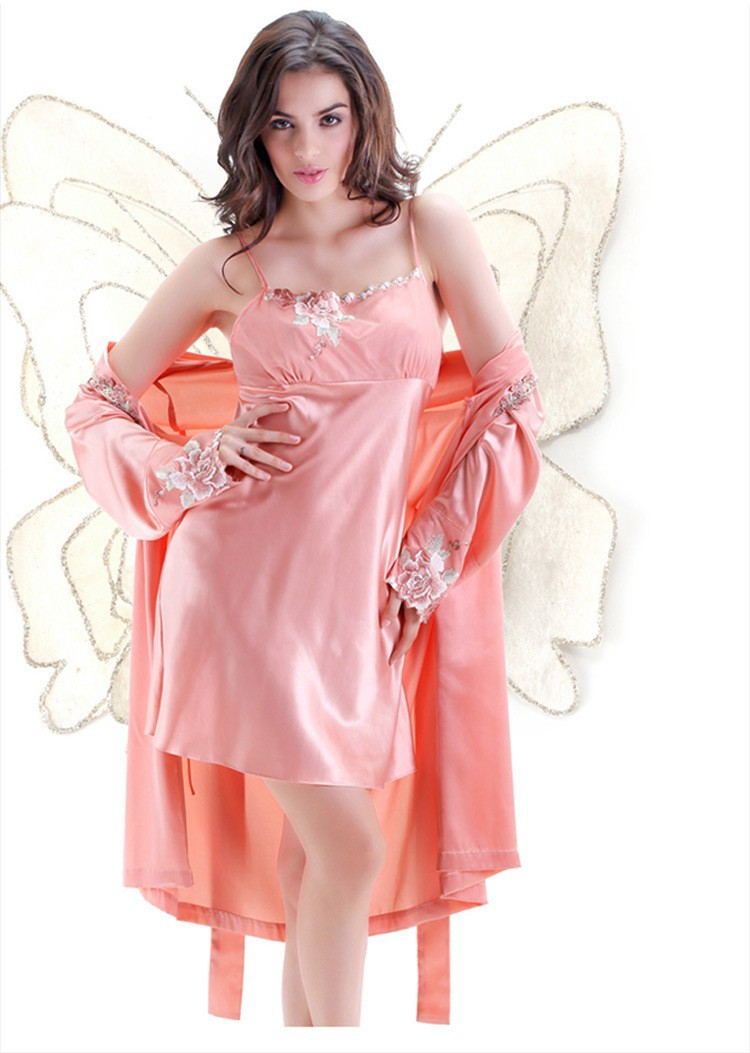 Pink Embroidery Silk Robes and Nightgowns Two Piece Sets for Women