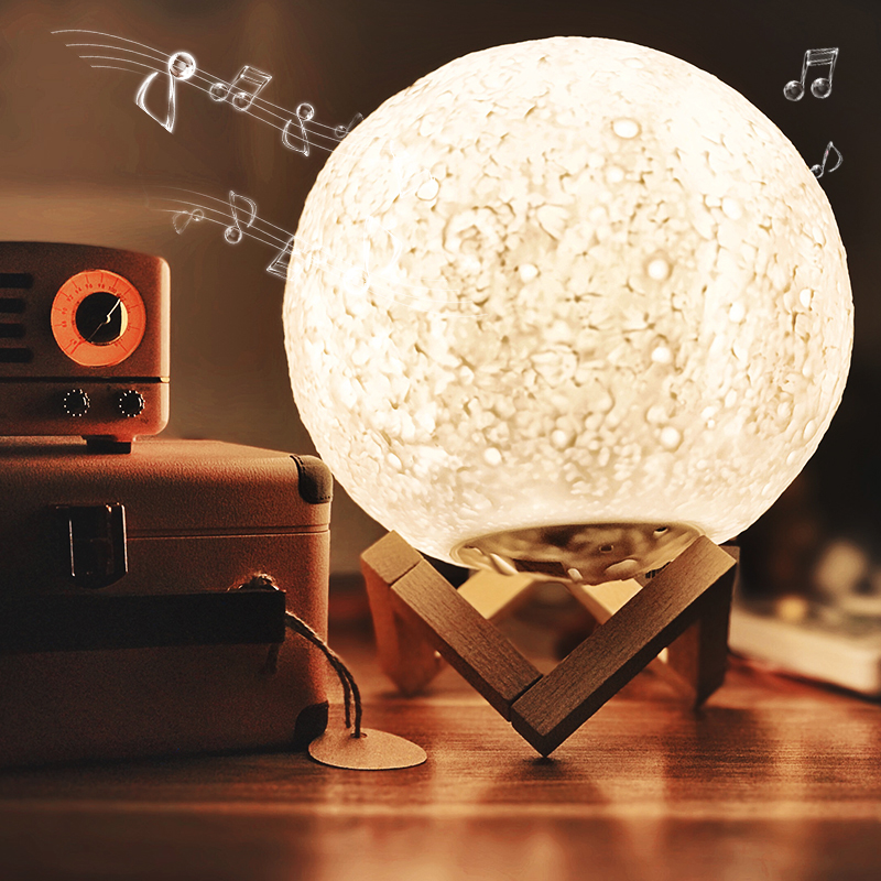 Lampe de lune imprimée 3D Rechargeable avec haut-parleur Bluetooth intégré 3/7 couleurs LED veilleuse Dimmable romantique cadeau décor