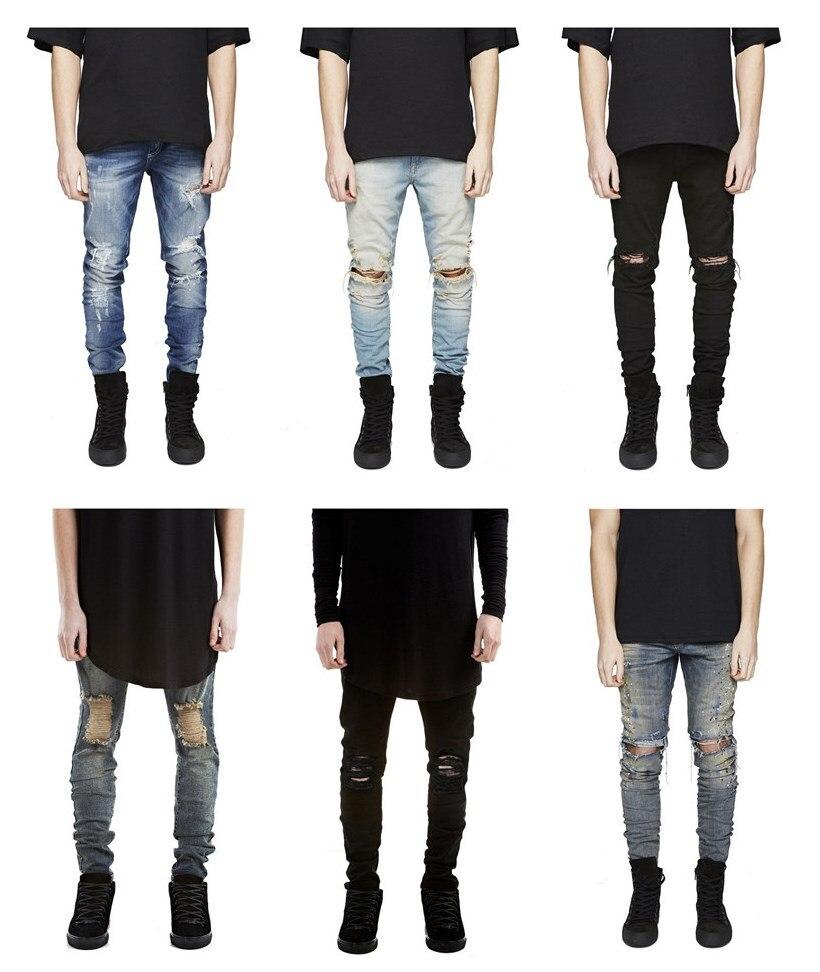 Online Shop represent clothing designer pants blue/black destroyed ...