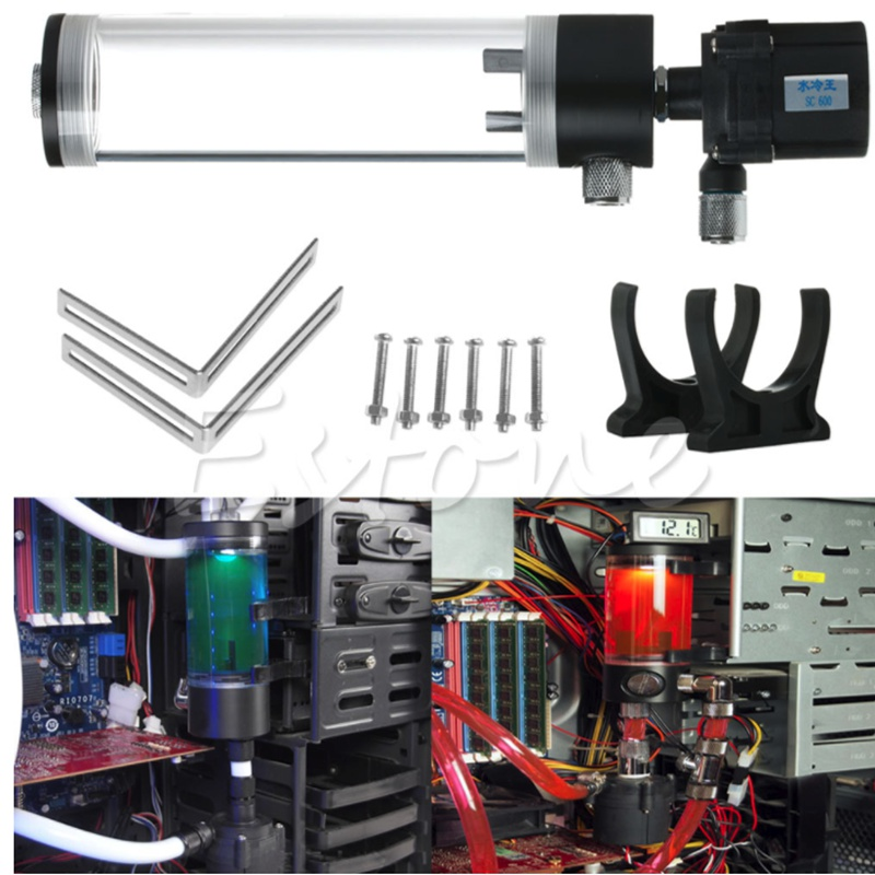 310mm Cylinder Water Tank G1 4 Thread 19W Pump Computer Water Cooling Radiator New Computer Water