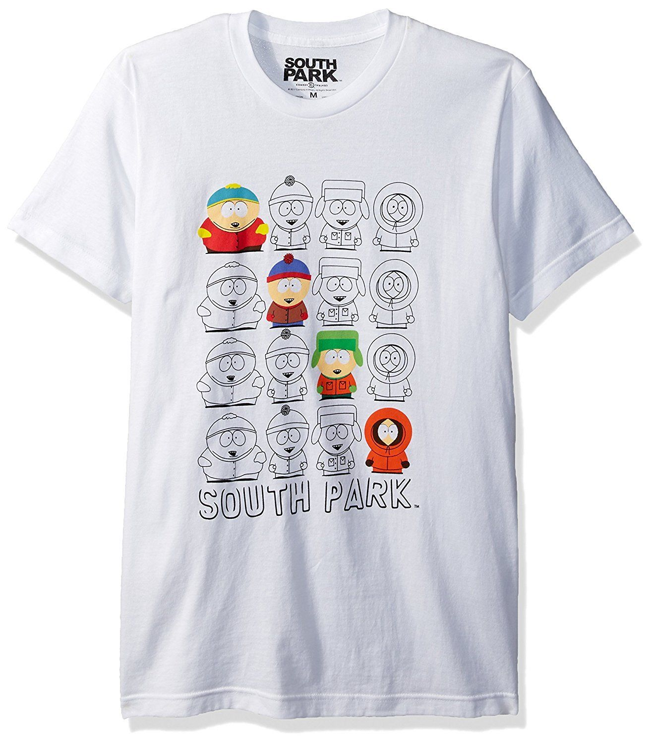 Authentic SOUTH PARK Characters Outline Repeat Logo T-Shirt White S-2XL NEW
